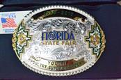 1999-2010 Florida State Fair Belt Buckle-232.9g Silver w/ 10k Gold.